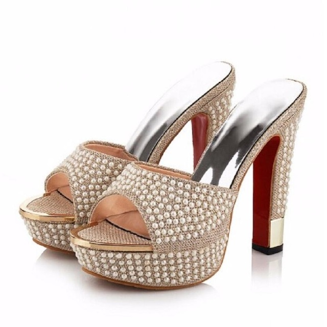 ce77652f24b6 Fashion String Beaded Platform Gold White High Heels Women Sandals Sexy High -Heels Slippers Big Size Shoes Female Zapatos Mujer