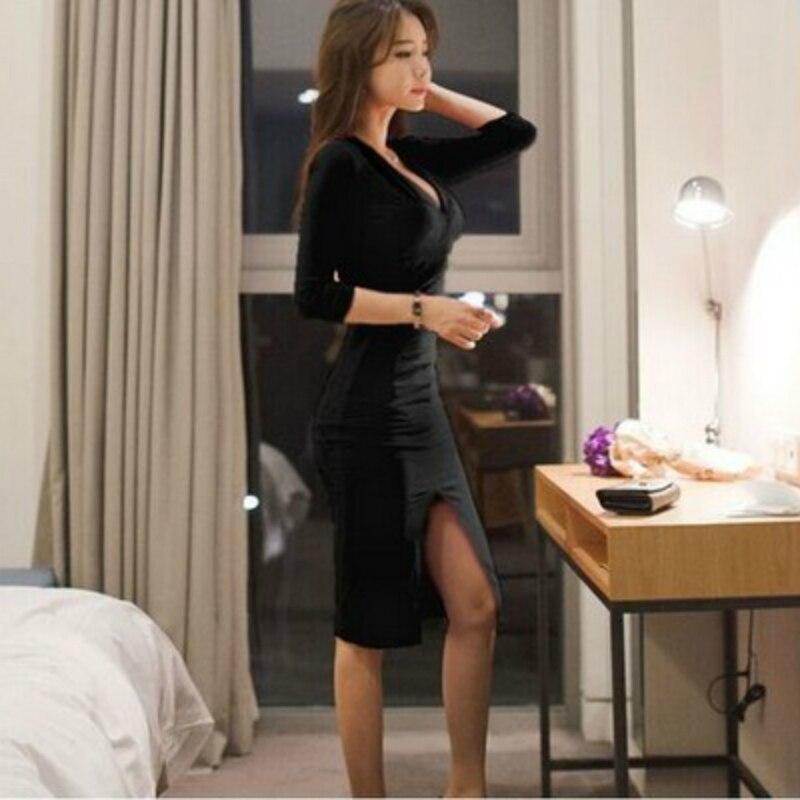 Automne femmes à manches longues Bandage bureau partie Sexy robe moulante noir rouge Vintage robe vcou Vestido De Festa robes Vent - 2
