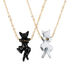 Fashion Cat Pendant Necklace Charm Alloy White Black Color Link Chain Necklace For Pet Lucky Jewelry For Women Gift(China)