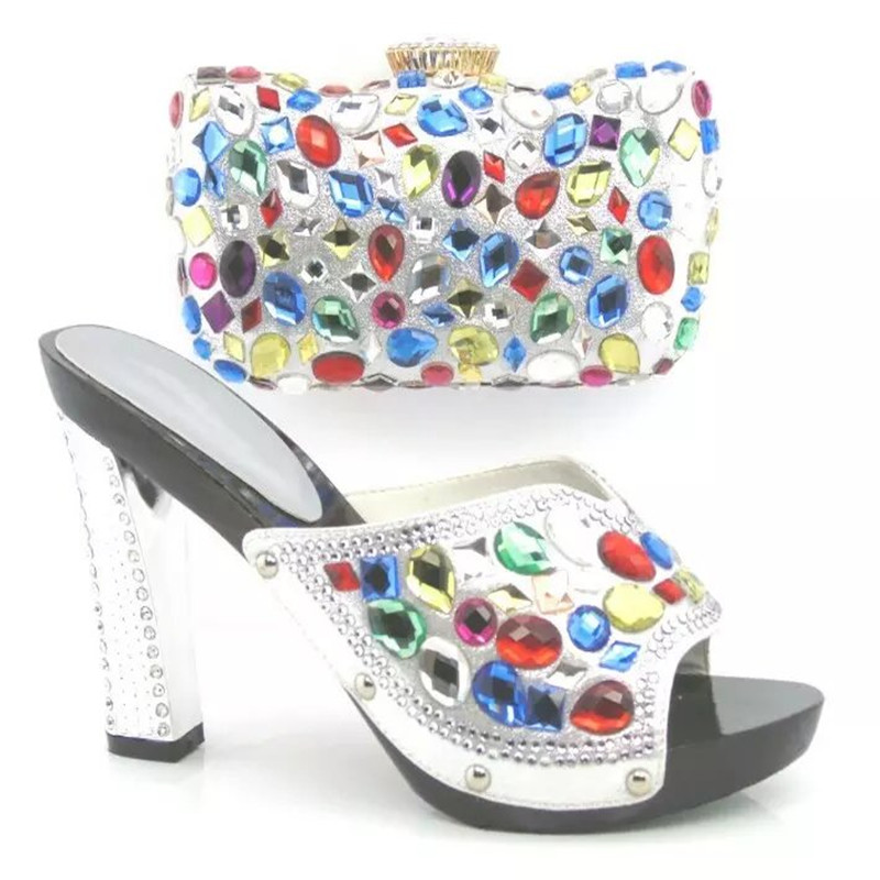 ФОТО Latest Fashion African Shoes And Matching Bag Set For Wedding High Quality Women Shoes And Bags Set!SILVER COLOR