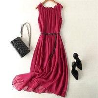 Woman Summer Hot Sale O Neck Sleeveless Print Ankle length 100% Silk Dresses Female Fall Oversized Hedging Slim Silk Dress