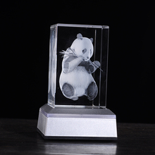 Cute Panda  Laser inside crystal 3D  Night light Color Changing Table Lamp  novelty Gifts for kids