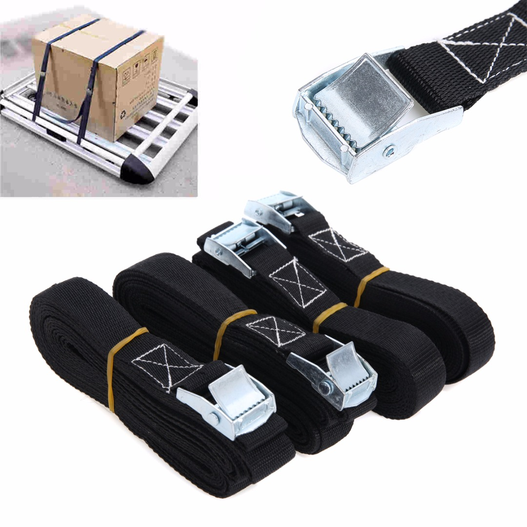High Quality 4pcs Heavy Duty Tie Down Strap Cargo Lashing Strong Ratchet Belt With Metal Buckle Mayitr New