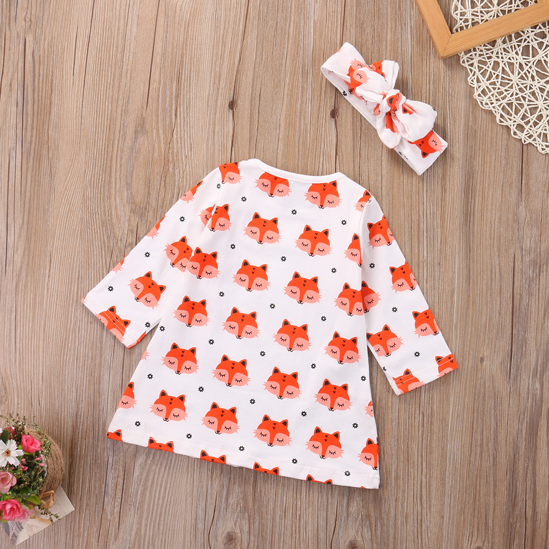 2017-Spring-Newborn-Baby-Girl-Clothes-Long-Sleeve-Cotton-Fox-Dress-Headband-2PCS-Outfit-Infant-Bebes-Casual-Dresses-5