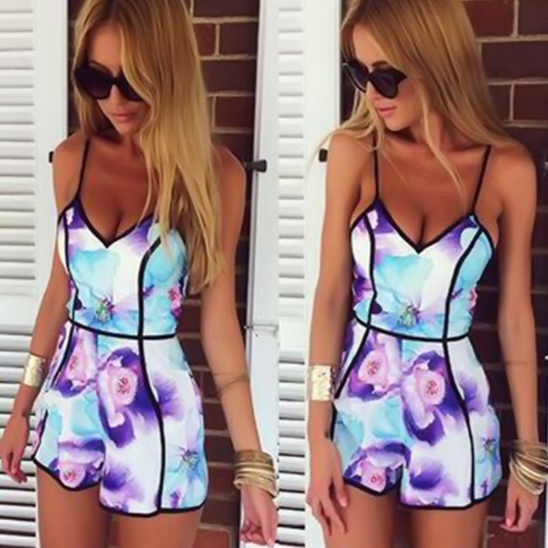 1901e83c46c MUQGEW Sexy Women V-Neck Floral Casual Rompers womens jumpsuit Playsuit Rompers  Trousers Calcetines mujer cheap