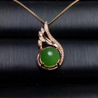 natural green jasper pendant S925 silver Natural gemstone Pendant Necklace trendy Especially grace flame women party jewelry