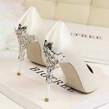Elegant Metal Carved Heels Women Pumps Shoes Woman Wedding Shoes