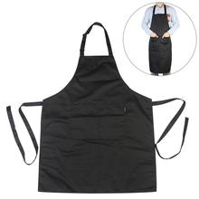 Black Adjustable Bib Chef Kitchen Apron with Pockets for Cooking / Baking / Barbecuing