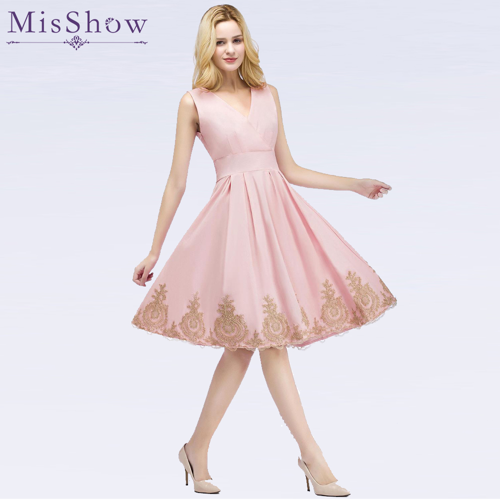 Precise Socci Weekend Sexy V Neck Pink Cocktail Dresses 2019 Short Above Knee Formal Birthday Party Dress Organza Ball Gowns Robe De Weddings & Events