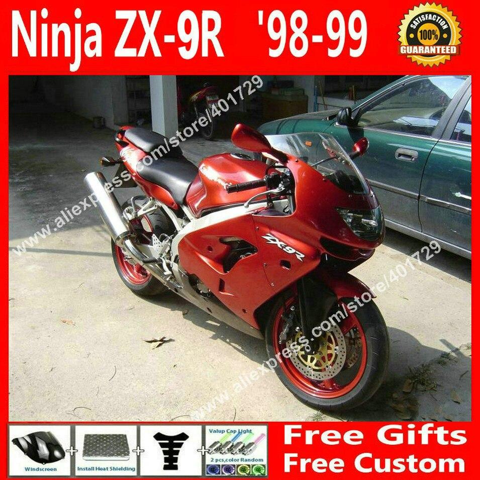 ABS plastic Fairings for 1998 1999 motorcycle Kawasaki ZX9R 98 99 red as fire bodywork fairing 7 gift DG043