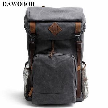 Vintage Leather Military Canvas Backpack Men's Backpack School Bag drawstring Backpack Travel Large Capacity Backpack Rucksack
