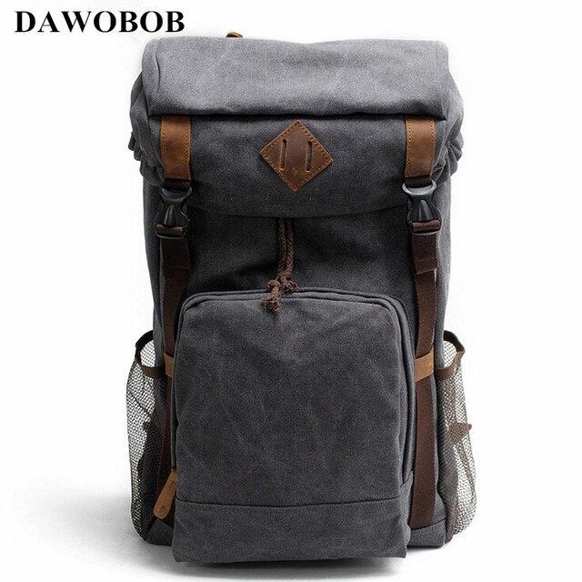 a903f3a8c837 Vintage Leather Military Canvas Backpack Men's Backpack School Bag  drawstring Backpack Travel Large Capacity Backpack Rucksack