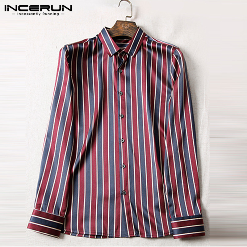 INCERUN Silk Satin Dress Shirt Men Long Sleeve Printing Lapel Neck Tops Camisa Masculina 2019 Office Social Business Shirts Men