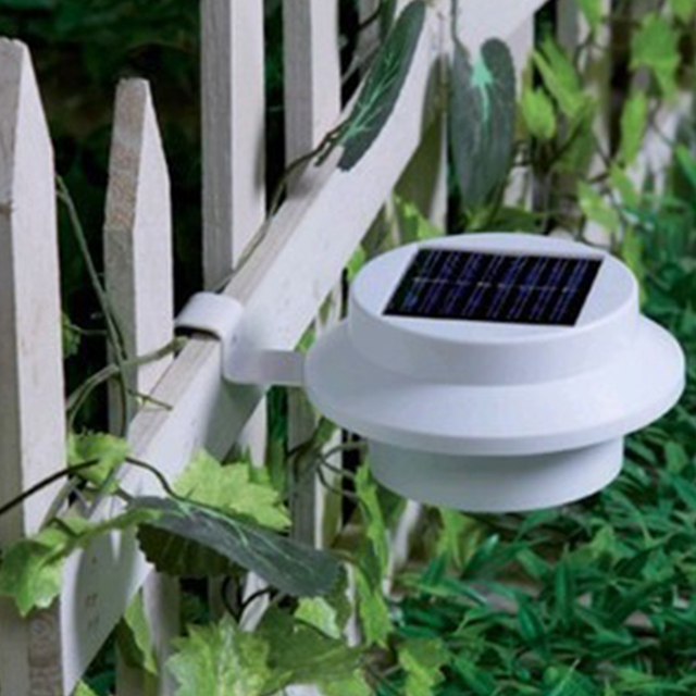 High Quality 2V 100mA Solar Powered 3 LED ON/OFF Fence Gutter White Light Outdoor Yard Garden Wall Lobby Pathway Lamp Lantern
