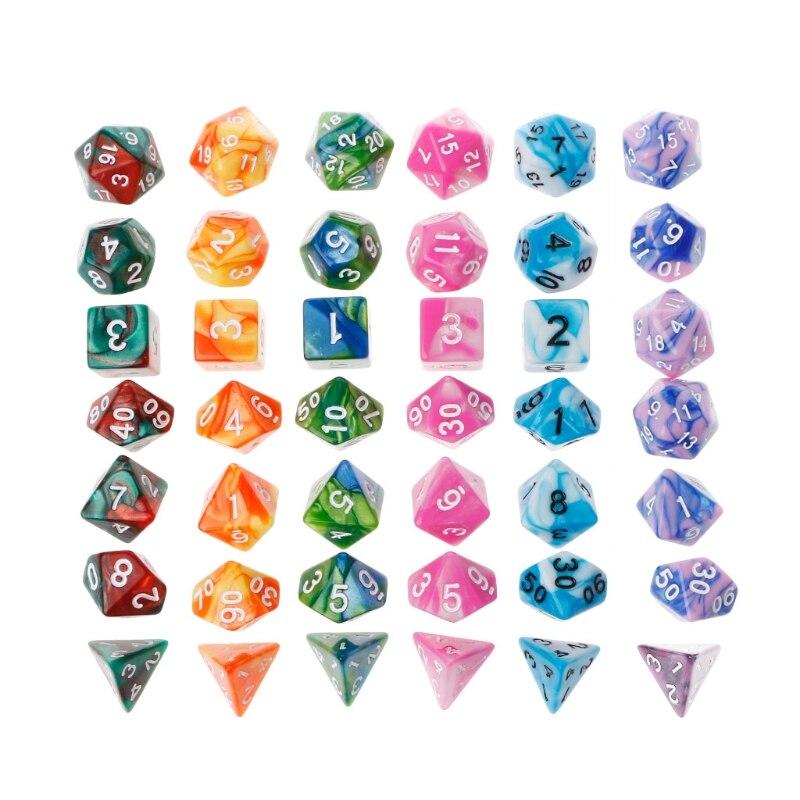 7PCS/set Polyhedron 2-color D&D Dice With Marbled Effect D4 D6 D8 D10 D10% D12 D20 Black Red Blue Color Clear Playing Dice