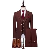 Wine Red Men's Suit Jackets with Suit Vests and Suit Pants Male Business Wedding Party Dress Slim Fit