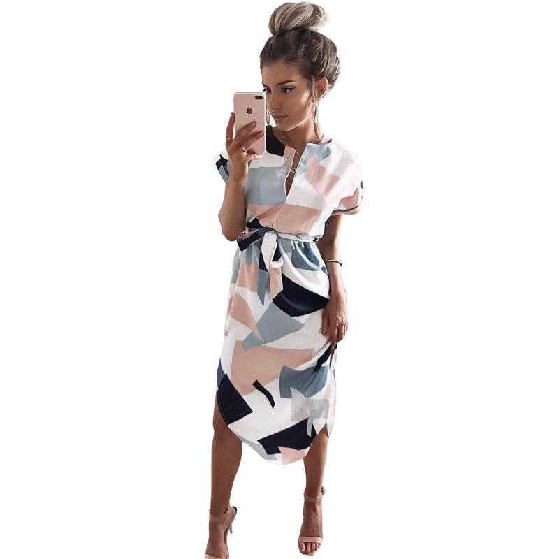 Stampa geometrica Dress Women V Neck Manica Corta 2017 Donna Estate Abiti Casual Telai Robe Midi Signore Vestito Elegante Abiti