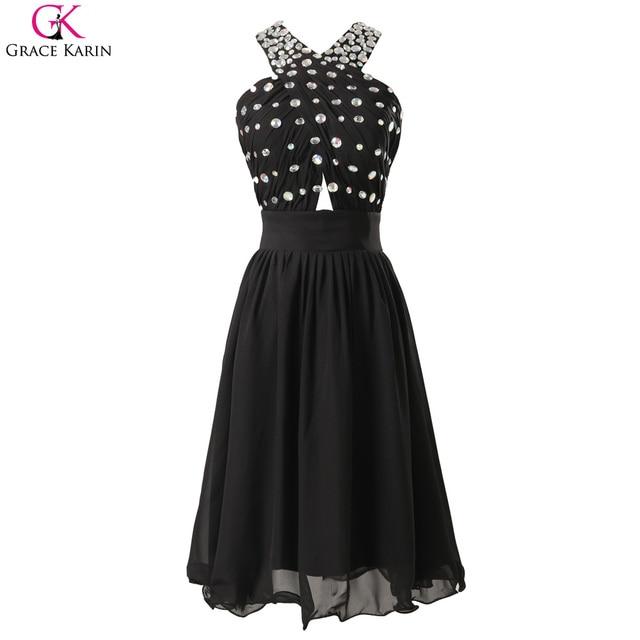 Grace Karin Black Cocktail Dresses Knee Length Chiffon Open Back Formal Gowns Short Beaded Wedding Party Dress Vestidos Cocktail