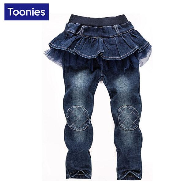 Resorte de los niños Faldas Pantalón Vaqueros Muchachas de La Falda-Pantalones Niños Pantalones Del Tutú de la Torta Faldas Bebé Pantalones Chicas Faldas Leggings