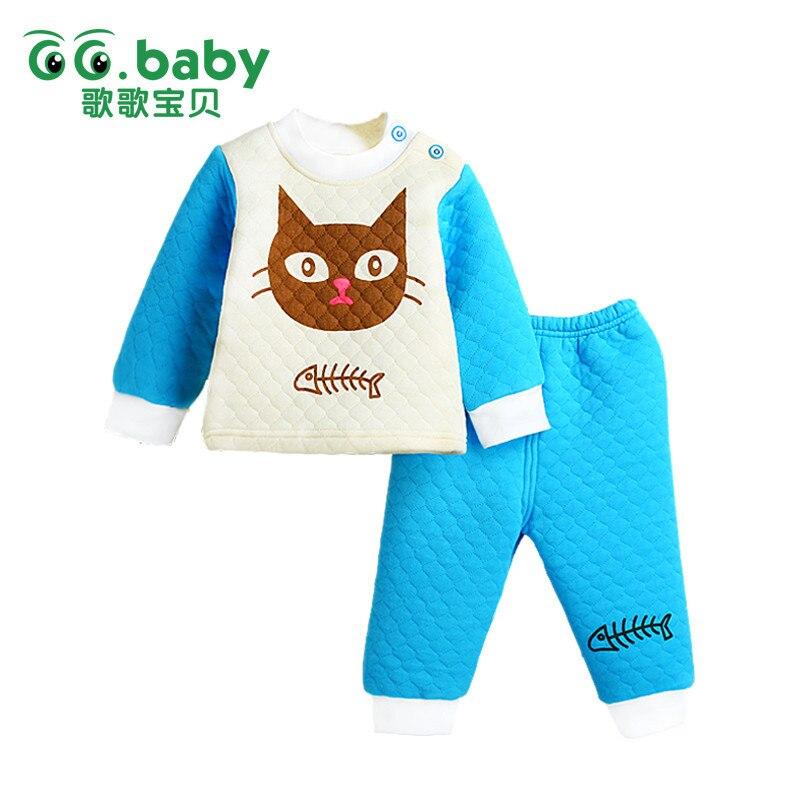 0-3m New 2pcs Cotton Winter Baby Clothing Sets Cheap Warm Baby Boy Girl Clothes Suit Cat Newborn Set Bebes Tees Pant Bebek Giyim 2pcs set baby clothes set boy