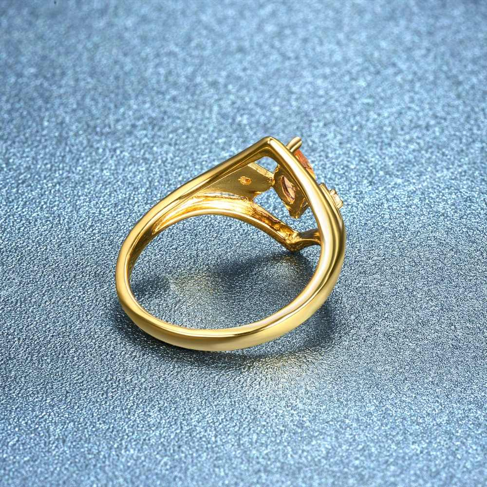 Hutang หมั้นแหวน Citrine citrine สีเหลืองทองของแข็ง 925 เงินสเตอร์ลิง Fine หินเครื่องประดับสำหรับของขวัญผู้หญิง