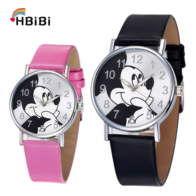Relogio Feminino Children Watch Women Fashion Casual Girls Boys Students Clock Mickey kids Watches Leather Quartz Wristwatches