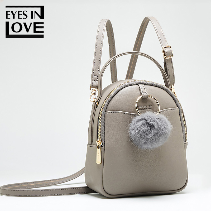Eyes In Love Small Leather Backpack Female Shoulder Bag Clutches Women School Backpack For Teenage Girls Cute Pompom Pu Rucksack eyes in love fashion leather backpack female small school backpack for teenage girls quality pu rucksack women bags mini mochila page 1