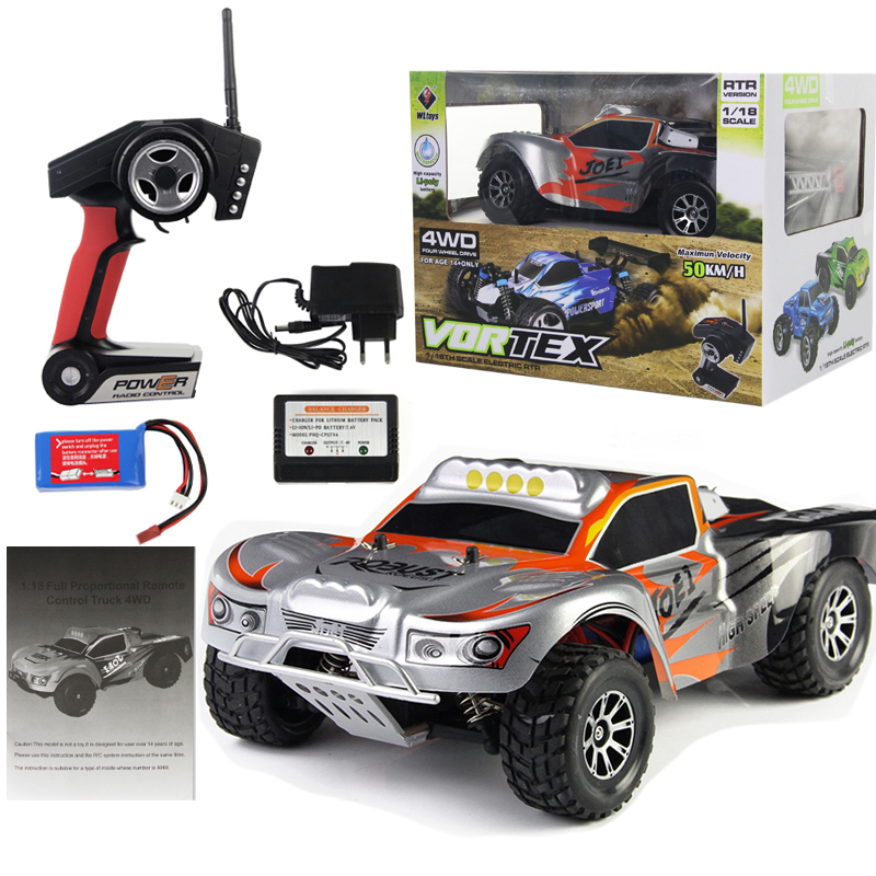 цены WL Toys 1:18 Full Proportional 2.4G Remote Control Car 4WD Off-road Vehice RC Car High Speed 45KM/H Drift Bajas Ready to Run