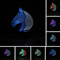 Top Quality 3D Mixed Color Lamp 7 Colors Change Baby Child Night Light Animal Little Horse Head Decor Table Projection LED Lamp