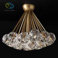 Diseno Brass crystal RH Deco Led Chandelier Lustre Indoor Lighting Ceiling Chandelier Crystal Lampshades G4 Chandelier Lighting