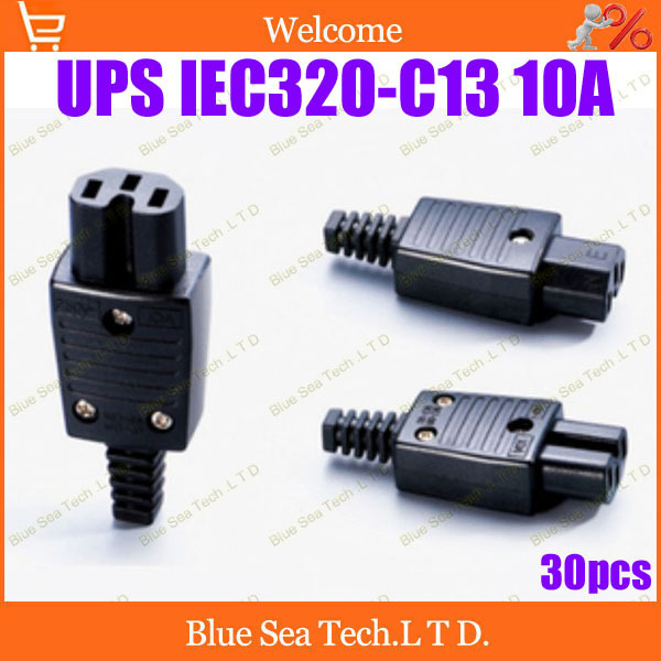 Free Shipping 30pcs IEC320-C13 Power Cable Cord Connector C13 female Receptacle PDU power detachable socket,UPS socket 10A/250V