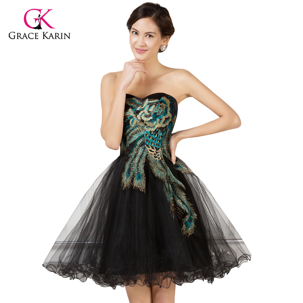 Grace Karin Peacock Prom Dresses Short Dresses 2018 Tulle Black