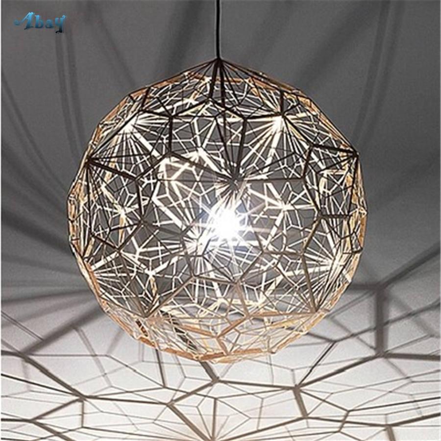Postmodern Geometric Spherical Grid Pendant Lights for Living Room Bar Classic Dining Room Decor Luxury Led Hanging Gold Lamp
