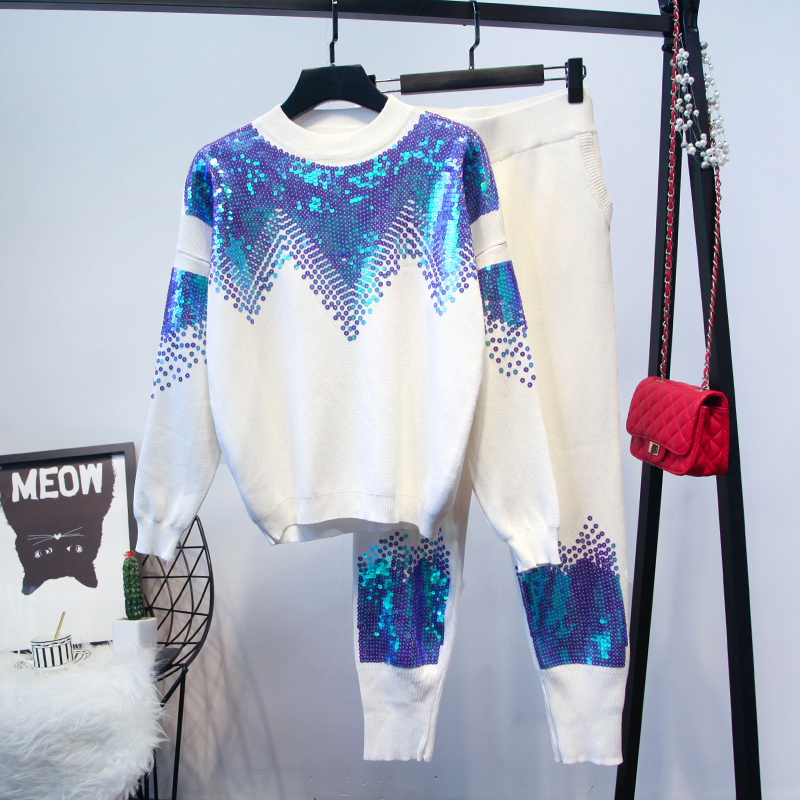 Amolapha ผู้หญิง Handmade เลื่อมถักเสื้อ + กางเกง 2 ชิ้นชุดเสื้อผ้าถักฤดูหนาว Tracksuits ชุด-ใน ชุดสตรี จาก เสื้อผ้าสตรี บน   1