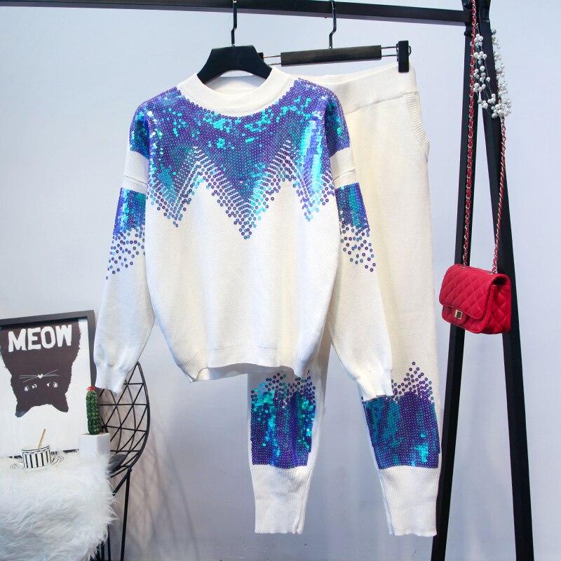 Amolapha femmes à la main paillettes tricoté pull + pantalon 2 pièces vêtements ensembles hiver tricot survêtements tenues-in Ensembles pour femmes from Mode Femme et Accessoires    1