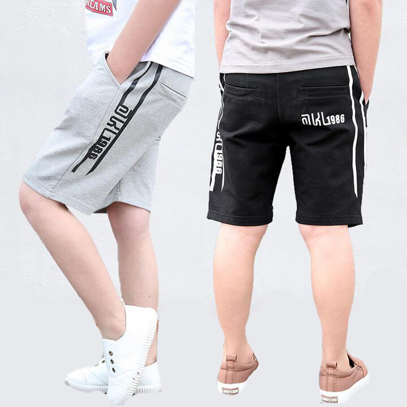 Boys Pants Letter Elastic Waist   Shorts   For Boys Clothing Summer Cotton Kids Trousers 5 6 7 9 11 12 13 Years Children Sports Wear