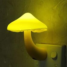 купить EU US Plug LED Night Light Mushroom Wall Socket Lights Lamp for Bedroom Home Decoration Hot Light-controlled Sensor дешево
