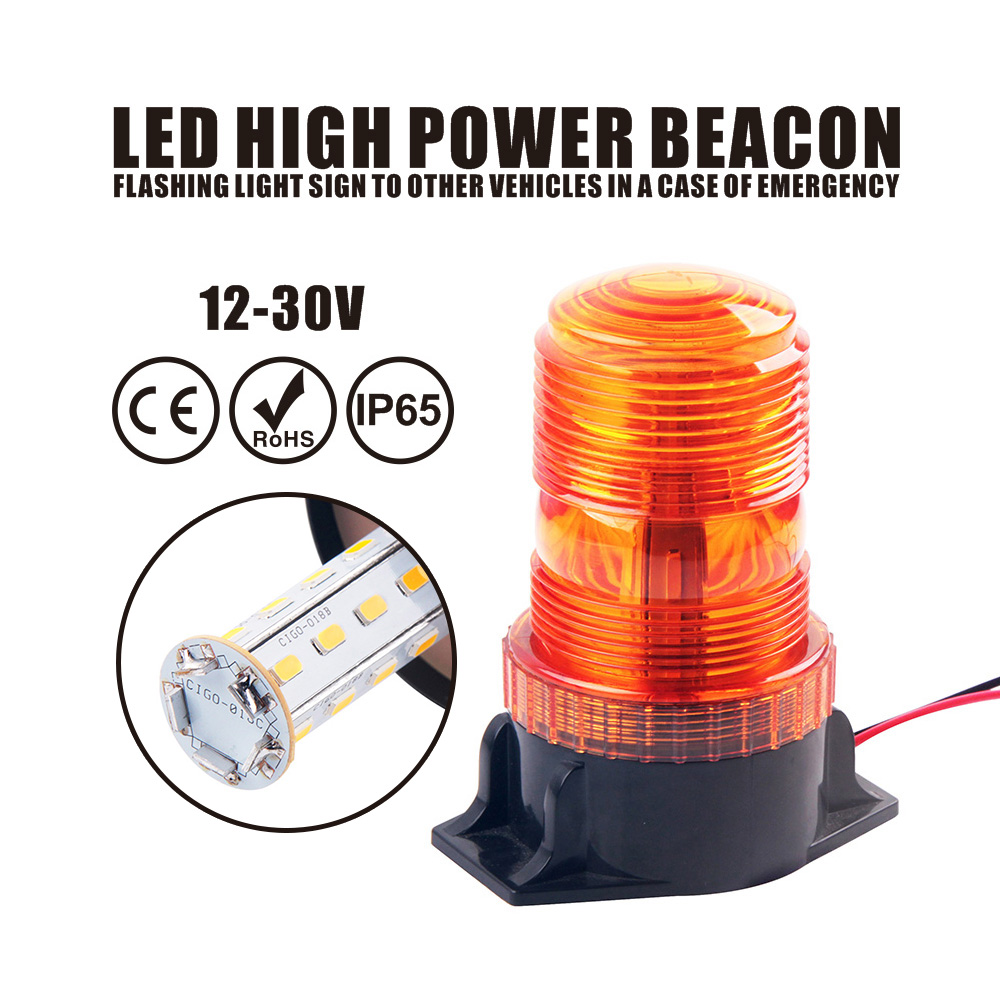 DC12V-36V Amber Strobe LED Darurat flashing Beacon Lights 360 Derajat - Lampu mobil - Foto 1