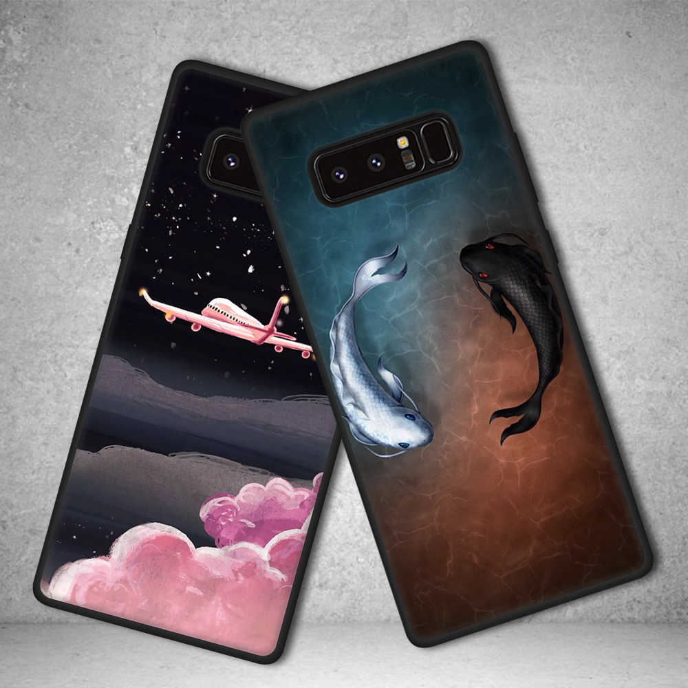 Tpu caso de telefone para samsung galaxy note 9 8 para samsung note9 s9 s8 mais s6 s7 borda flores bonito gato animais padrão capa casos