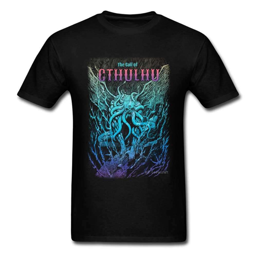 Lovecraft Tshirt For Men A Beast Nightmare of Cthulhu Design T-shirts 3D Digital Graphic Tee Shirt Great 100% Cotton