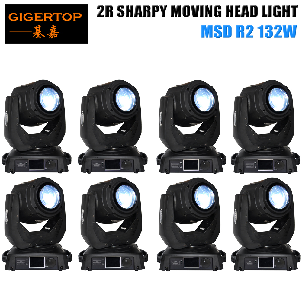 TIPTOP 8XLOT DMX512 14CH 2R 132W Spot Beam Moving Head Light DJ Disco Club Stage Light 3-lens Optical 8-face Rotating Prism  tiptop sunny 512 dmx stage light controller black color dmx in out equipped led lamp optical isolated independent drive