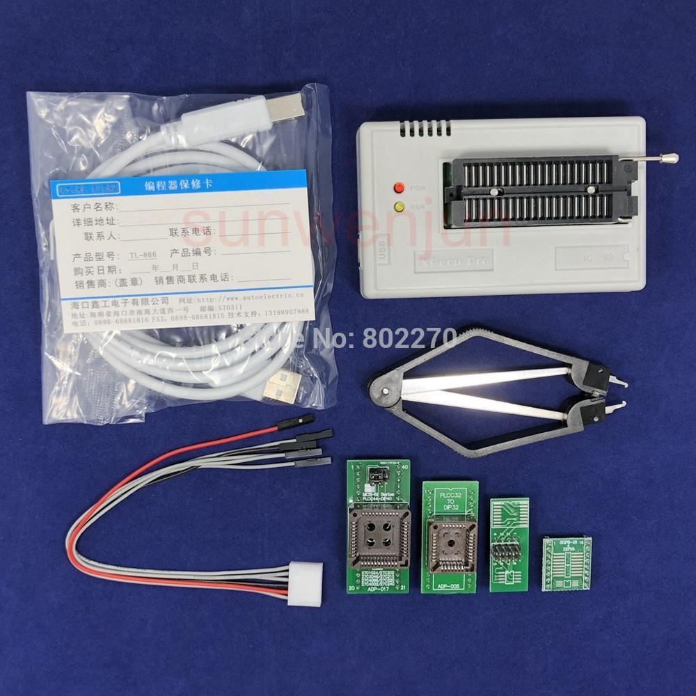Black Edition V8.30 XGecu TL866II Plus Programmateur USB 15000 + IC SPI Flash NAND EEPROM MCU PIC AVR + 4 pièces ADAPTATEUR + PLCC EXTRACTEUR