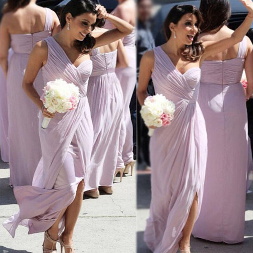 Popular bridesmaid dresses tulle purple buy cheap bridesmaid cheap one shoulder light purplelilac bridesmaid dresses long pleat tulle bridesmaid dress slit wedding ombrellifo Images