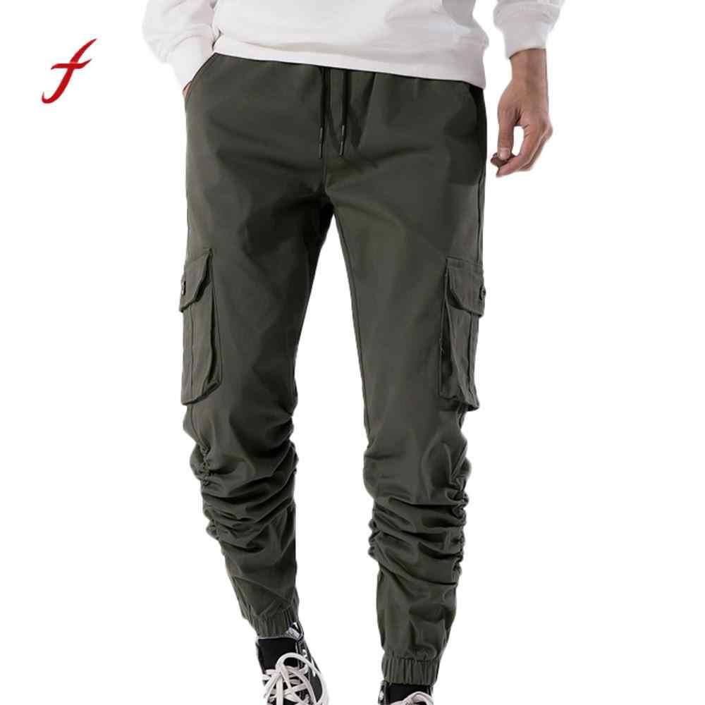 apparence élégante mode attrayante invaincu x 2019 sweatpants Men's Autumn Winner Pure color Casual Pocket Cargo joggers  Pants Trousers pantalon homme streetwear sweatpants