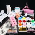 2016 New Pro 12 Color UV Gel 8 Zebra Brush Nail Tips Nail Art Tool Kits Sets