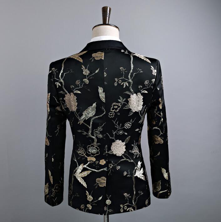 Певица Стиль Танцевальная сцена Одежда для мужчин шаблон костюм комплект со штанами мужские свадебные костюмы костюм жениха формальное платье галстук черный - 4