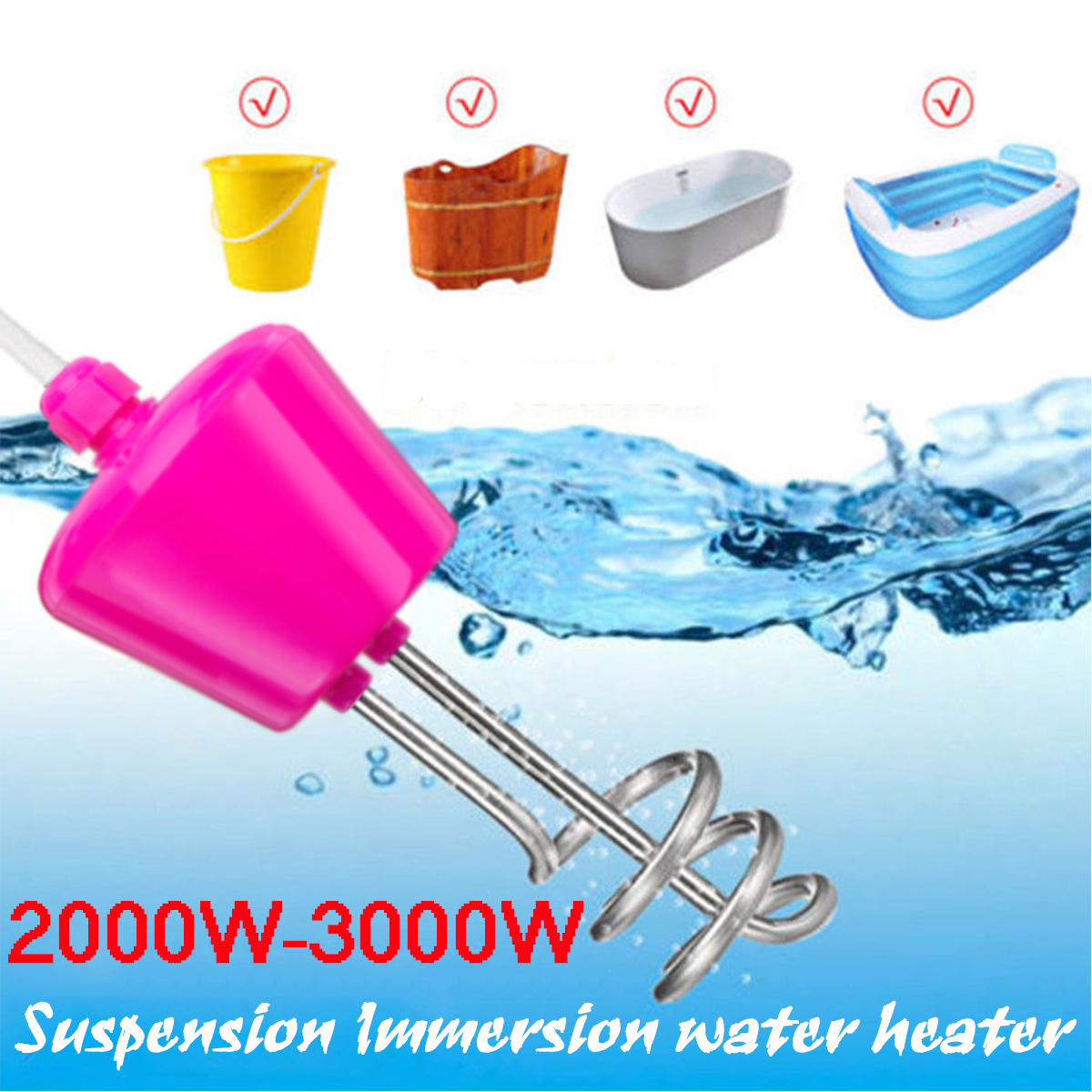 2000W 2500W 3000W Water Heater Immersion Element Boiler for Bathtub Inflatable Swimming Pool Hot Water Heater Heating Element цена
