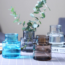 Modern Gray glass vase Transparent terrarium Small flower Crafts Ornament bottle wedding home decoration accessories