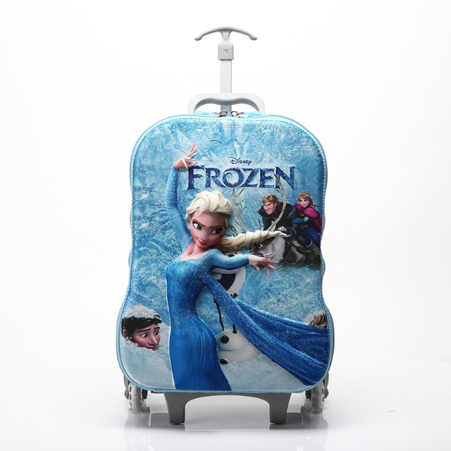 db61e863b 16 Inch Children's 3D Print Princess Elsa Travelling Trolley Bag EVA  Wheeled Rolling Hardside Luggage Bags For Girls