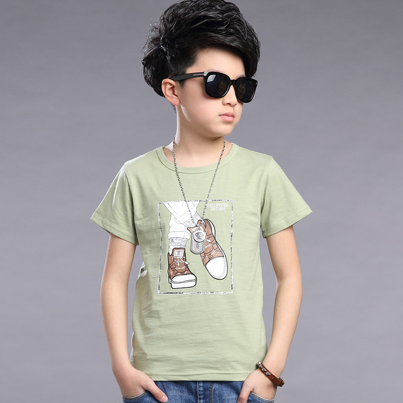 Summer children clothing cartoon shoes printed kids short sleeve T Shirt casual cotton teenager big boys school shirt boys tops